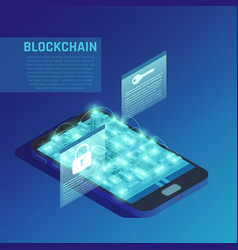 blockchain isometric composition vector image