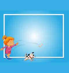 Border template with girl and dog vector