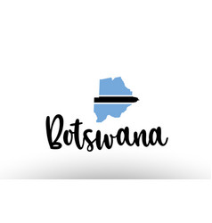 Botswana country big text with flag inside map vector