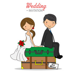 Bride and groom sitting on top travel suitcases vector