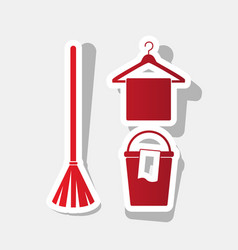 broom bucket and hanger sign new year vector image