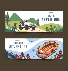 Camping banner design with car boat watercolor vector