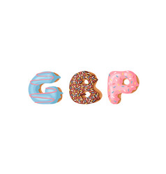 Cartoon donut and word dbp hand drawn drawing vector