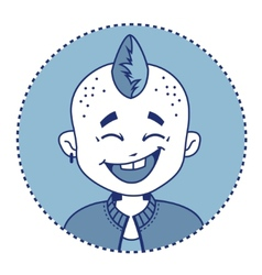 Character smiling punk with mohawk vector