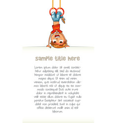 child holding empty blank poster hung upside down vector image