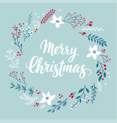 christmas calligraphic card - hand drawn floral v vector image