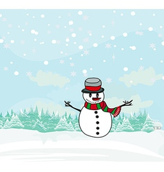 christmas card with cute snowman vector image