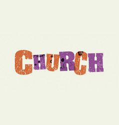 Church concept stamped word art vector