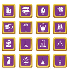 Cleaning tools icons set purple square vector