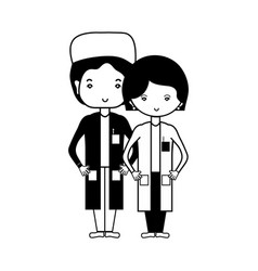 Contour woman and man doctors with their uniform vector