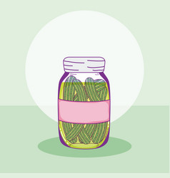 Cucumbers in mason jar vector