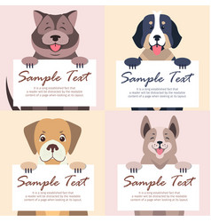 Cute dog holding banner with text set vector