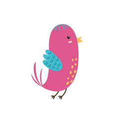 cute pink bird funny character isolated element vector image