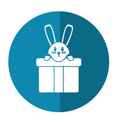 cute rabbit hiding gift box surprise shadow vector image