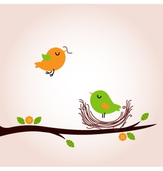 Cute spring birds building nest vector