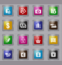 E-commers glass icons set vector