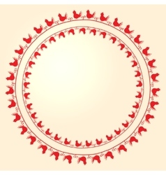 Embroidery folk ornament with birds vector