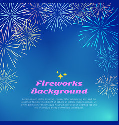 Fireworks background colorful top frame on blue vector
