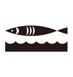 fish and waves icon vector image