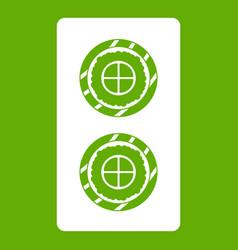 Fish roll icon green vector