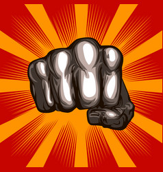 Fist on an aggressive red background vector