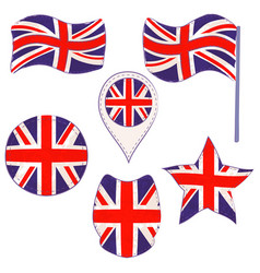 flag of the uk performed in defferent shapes vector image