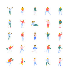 Flat icons pack of people vector