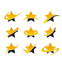 Gold Star Logo Icons vector image