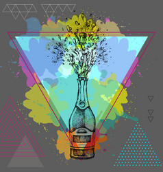 hand drawing of champagne bottle with splash vector image