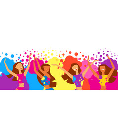 happy dansing girls throw paint vector image