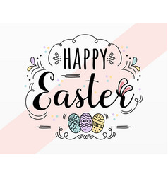 happy easter day sticker design vector image
