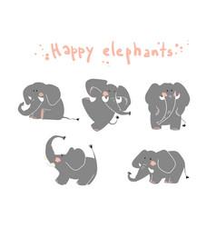 happy elephats playing around flat vector image