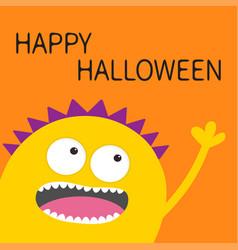 Happy halloween card yellow screaming spooky vector