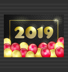 happy new year christmas card gold red balloons vector image