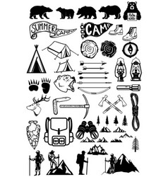 Hiking summer camp emblems and design elements vector