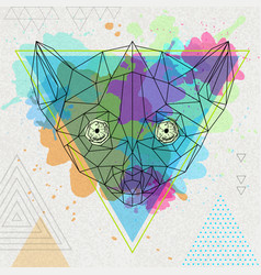 Hipster polygonal animal lemur on artistic vector