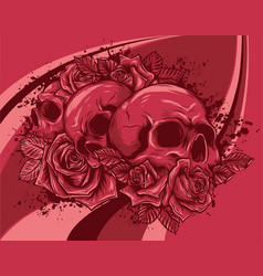 human skulls bouquet flowers vector image