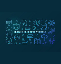 hybrid electric vehicle blue horizontal outline vector image
