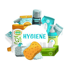 Hygiene and body care products round frame vector