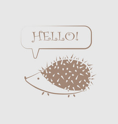 icon funny hedgehog with the words hello in the vector image