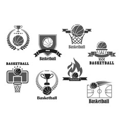 Icons of basketball championship club award vector