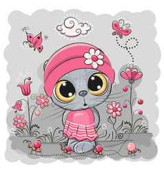 kitten on a meadow with flowers and butterflies vector image