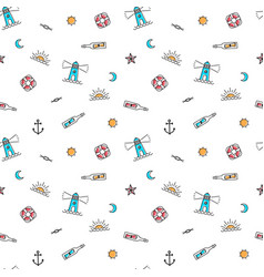 Line art summer seamless beach pattern vector