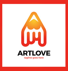 love art pencil logo vector image