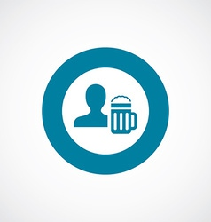 Man with beer glass icon bold blue circle border vector