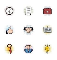 Marketing icons set pop-art style vector