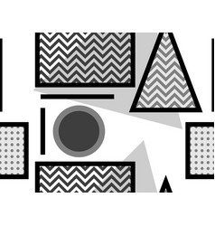 memphis seamless pattern black and white vector image