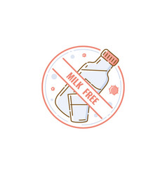 milk and lactose free product icon concept with vector image
