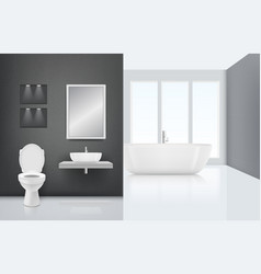 Modern bathroom interior toilet sink washing vector
