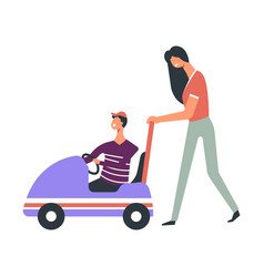 modern young mother pushes toy car with son in cap vector image